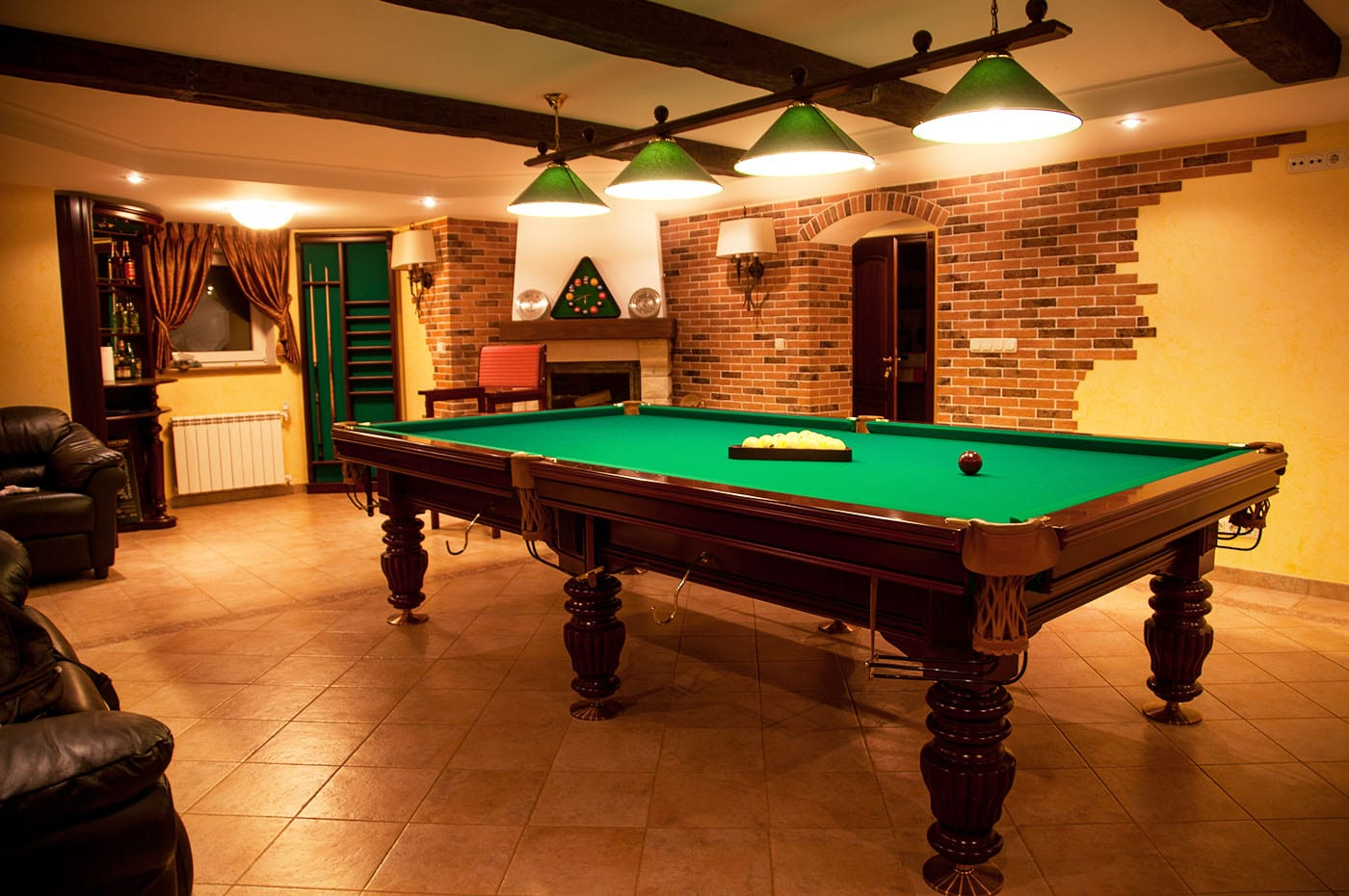 Entertaining will never be the same again. Enjoy playing pool, throwing darts, shuffleboard or what ever you have in mind.