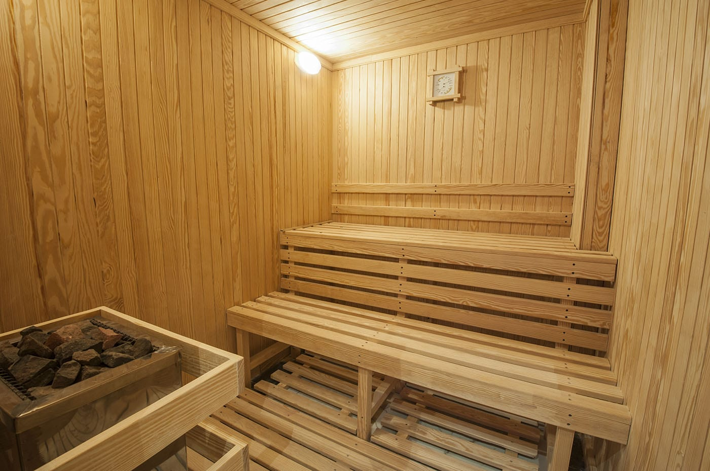After your work out, you can enjoy your very own and private sauna.