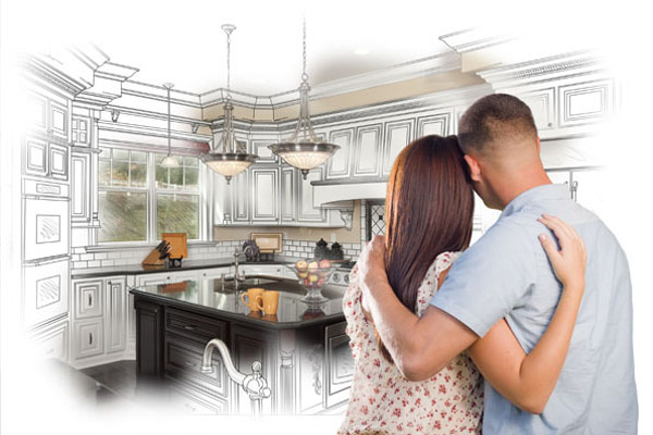 A new kitchen is coming. This young couple is looking at it for the first time, from the initial drawing to finally being built.